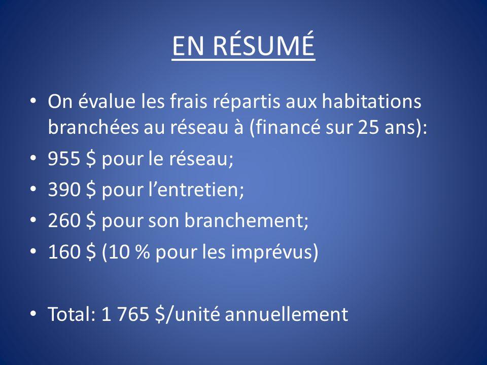 EN RÉSUMÉOn évalue les frais répartis aux habitations branchées au réseau à (financé sur 25 ans): 955 $ pour le réseau;