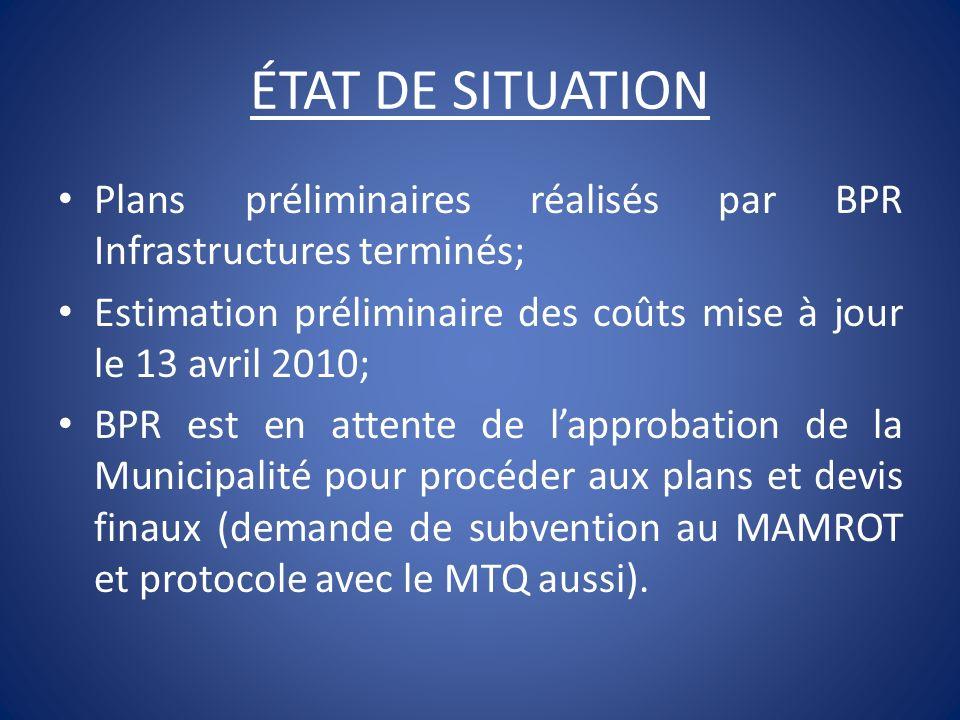 ÉTAT DE SITUATION Plans préliminaires réalisés par BPR Infrastructures terminés; Estimation préliminaire des coûts mise à jour le 13 avril 2010;