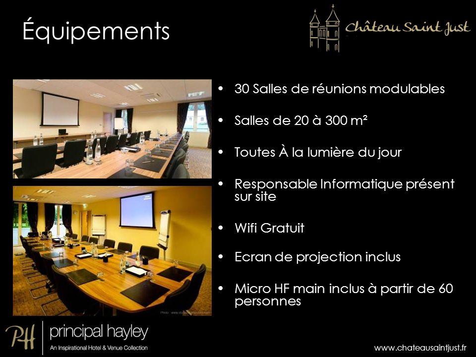 Équipements 30 Salles de réunions modulables Salles de 20 à 300 m²