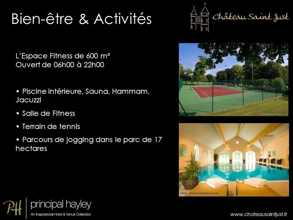 Bien-être & Activités L'Espace Fitness de 600 m² Ouvert de 06h00 à 22h00. Piscine intérieure, Sauna, Hammam, Jacuzzi.
