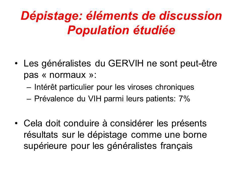 Dépistage: éléments de discussion Population étudiée