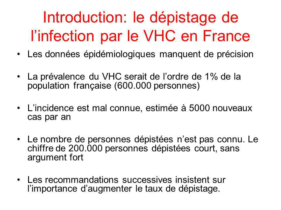 Introduction: le dépistage de l'infection par le VHC en France