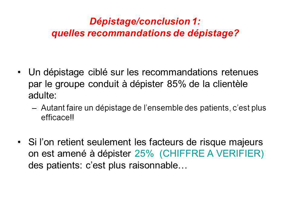 Dépistage/conclusion 1: quelles recommandations de dépistage
