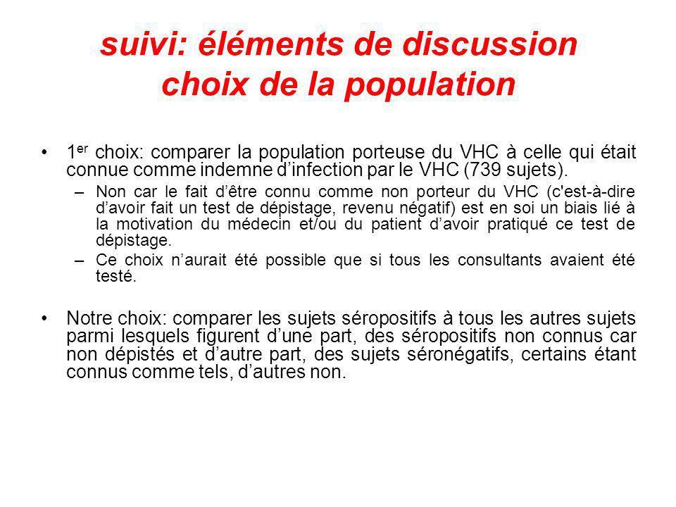 suivi: éléments de discussion choix de la population