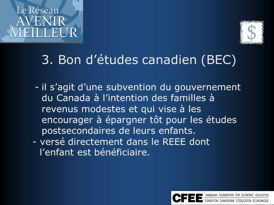 3. Bon d'études canadien (BEC)