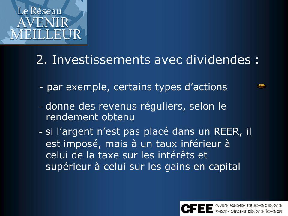 2. Investissements avec dividendes :