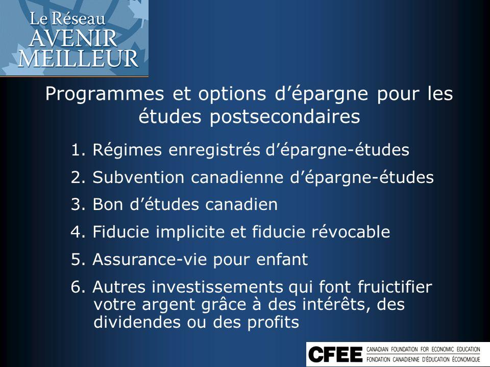 Programmes et options d'épargne pour les études postsecondaires