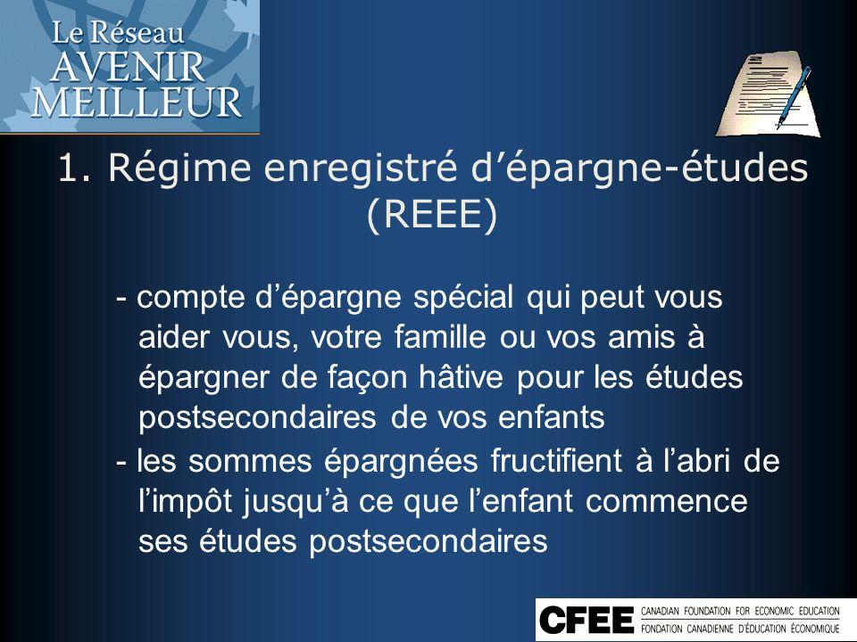 1. Régime enregistré d'épargne-études (REEE)