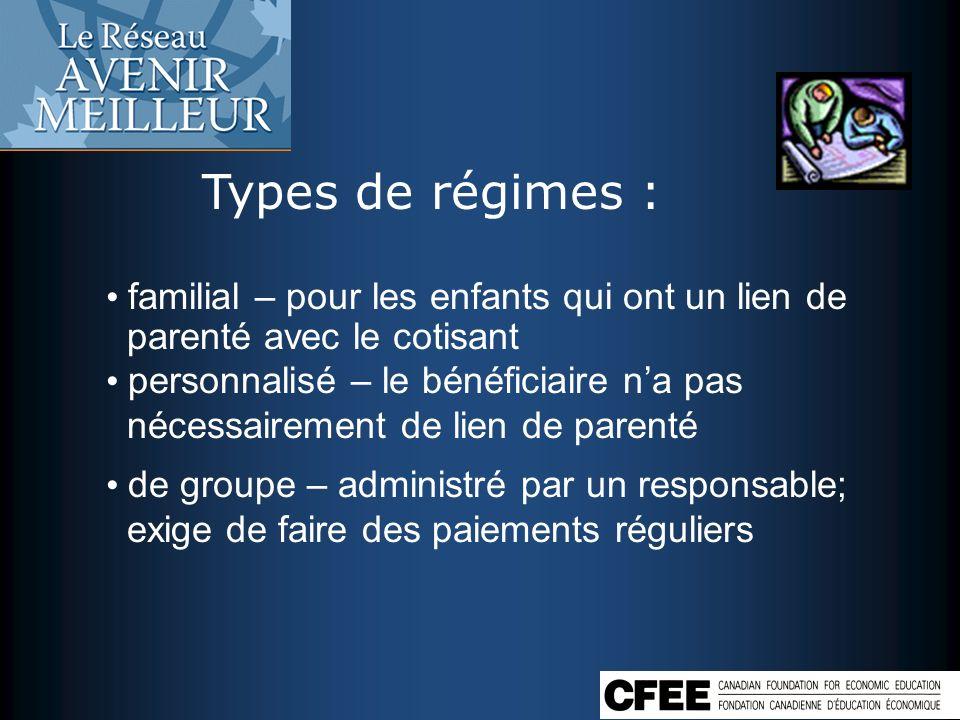 Types de régimes : familial – pour les enfants qui ont un lien de parenté avec le cotisant.