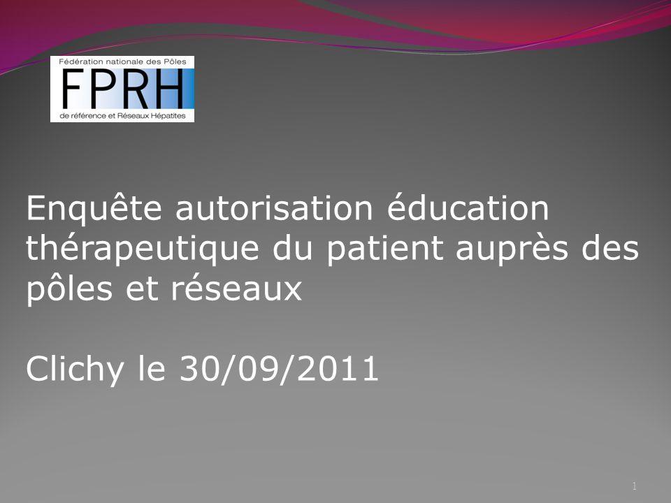 Enquête autorisation éducation thérapeutique du patient auprès des pôles et réseaux