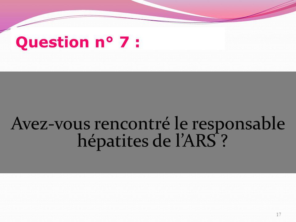 Avez-vous rencontré le responsable hépatites de l'ARS