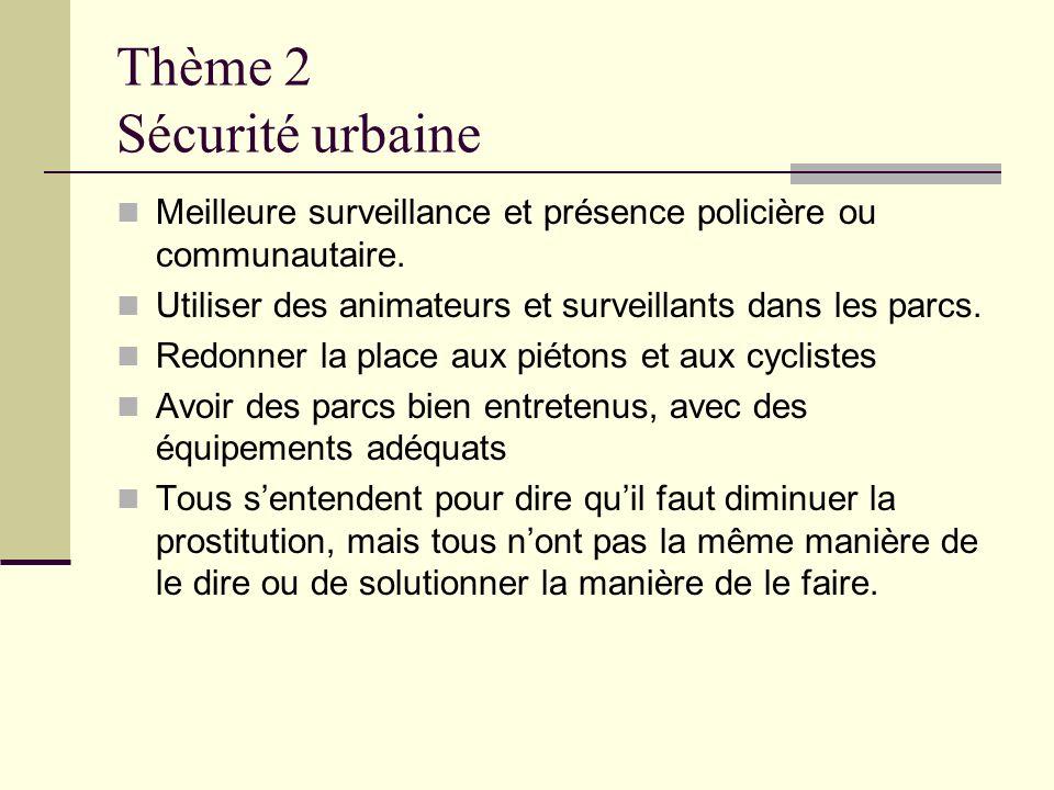 Thème 2 Sécurité urbaine