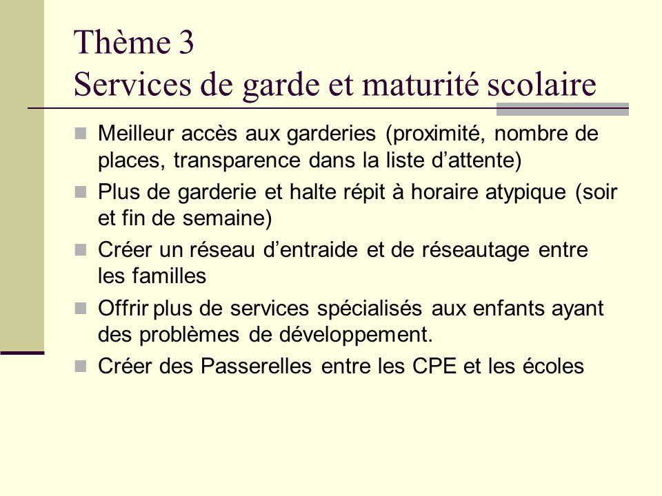 Thème 3 Services de garde et maturité scolaire
