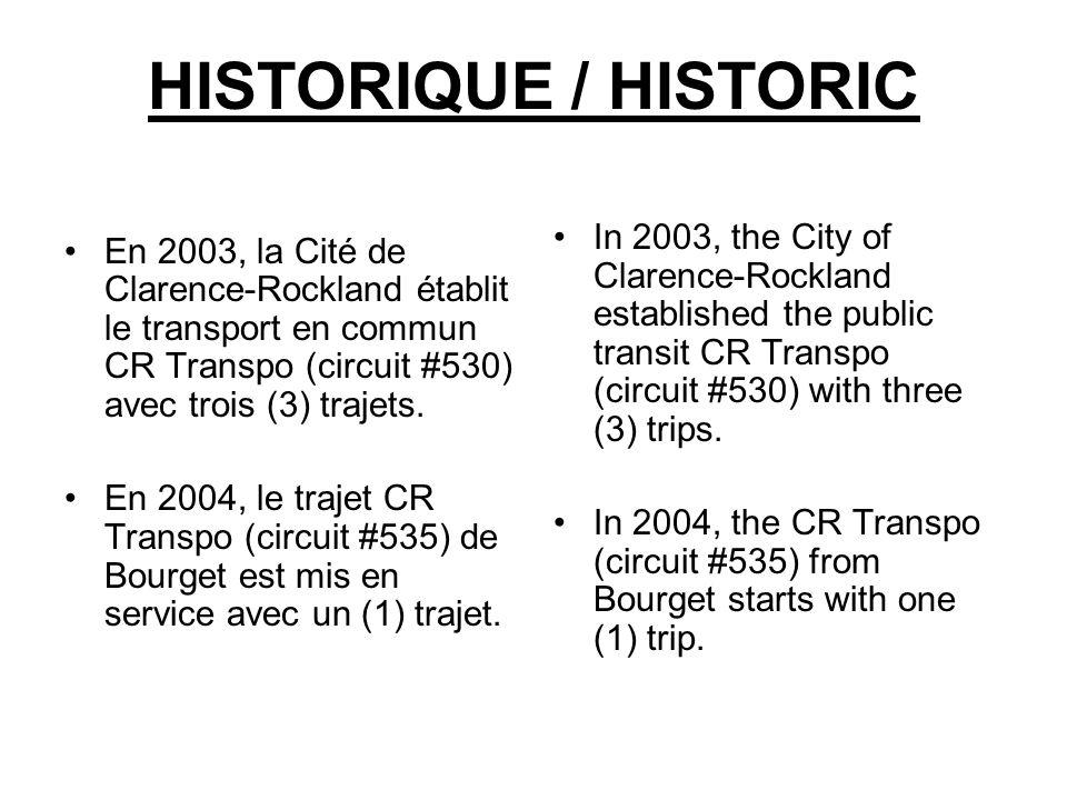 HISTORIQUE / HISTORIC En 2003, la Cité de Clarence-Rockland établit le transport en commun CR Transpo (circuit #530) avec trois (3) trajets.
