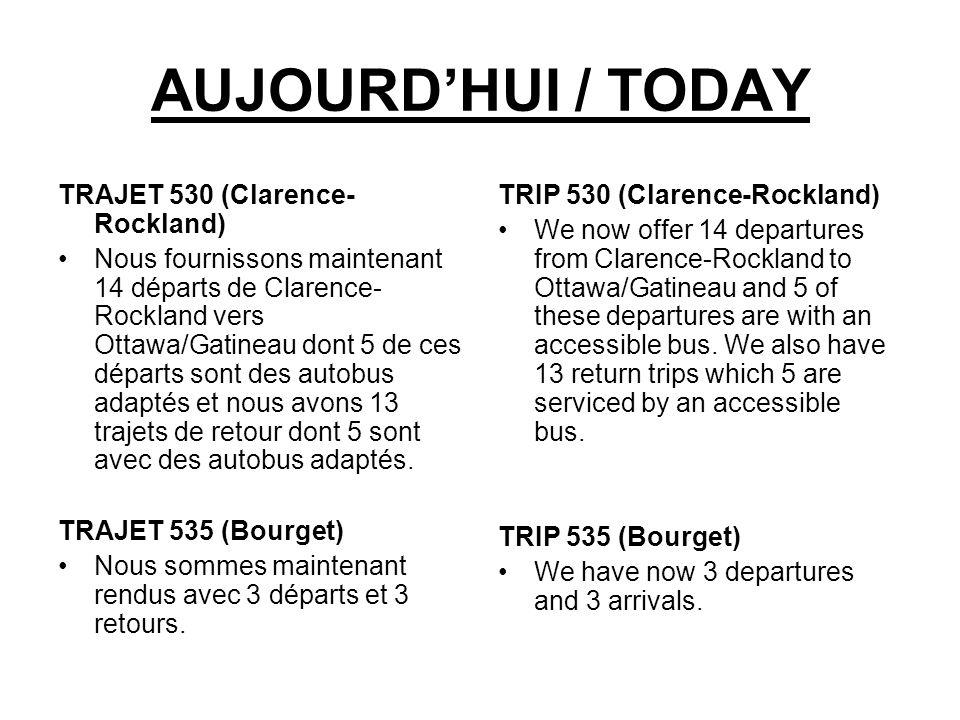 AUJOURD'HUI / TODAY TRAJET 530 (Clarence-Rockland)