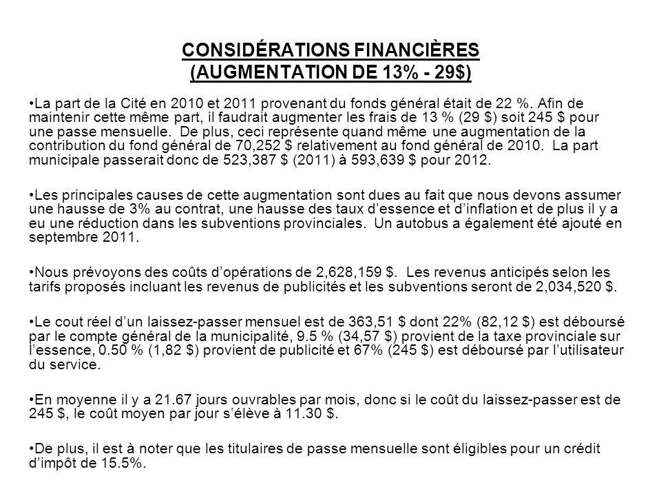 CONSIDÉRATIONS FINANCIÈRES (AUGMENTATION DE 13% - 29$)