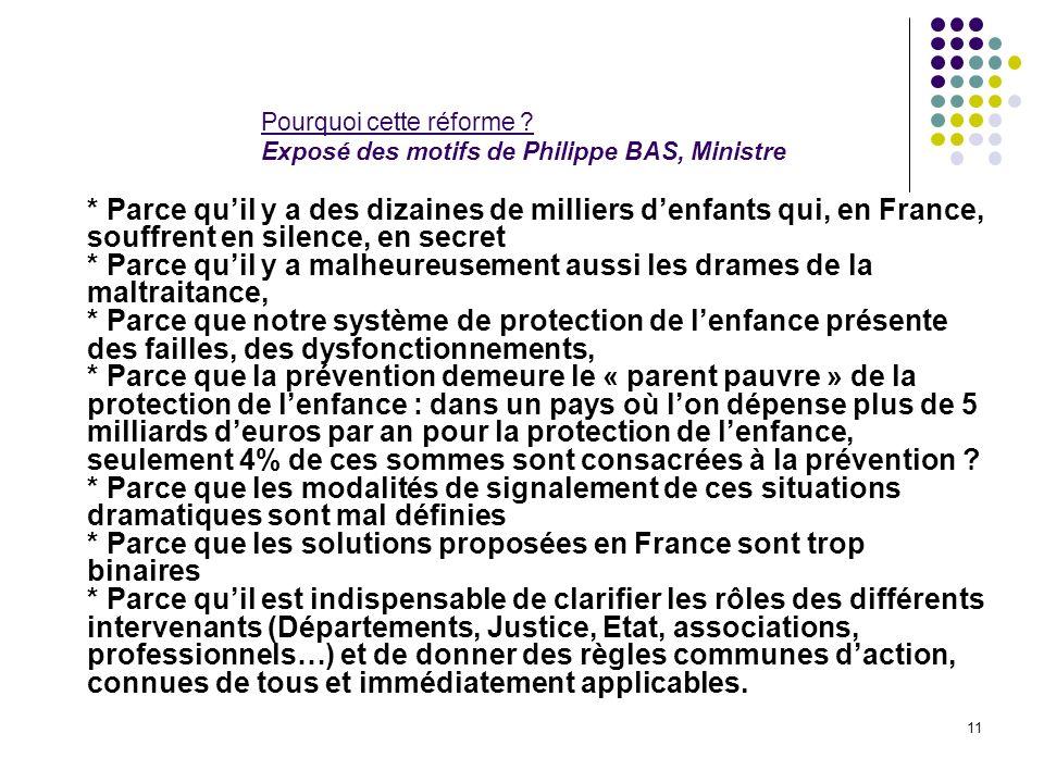 Pourquoi cette réforme Exposé des motifs de Philippe BAS, Ministre