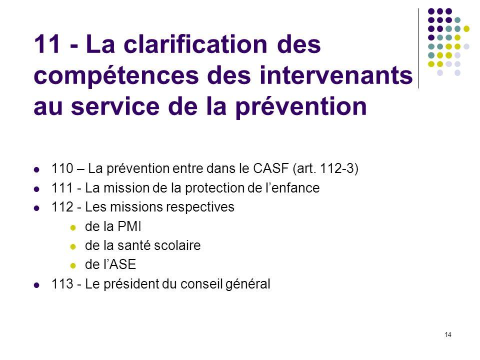 11 - La clarification des compétences des intervenants au service de la prévention