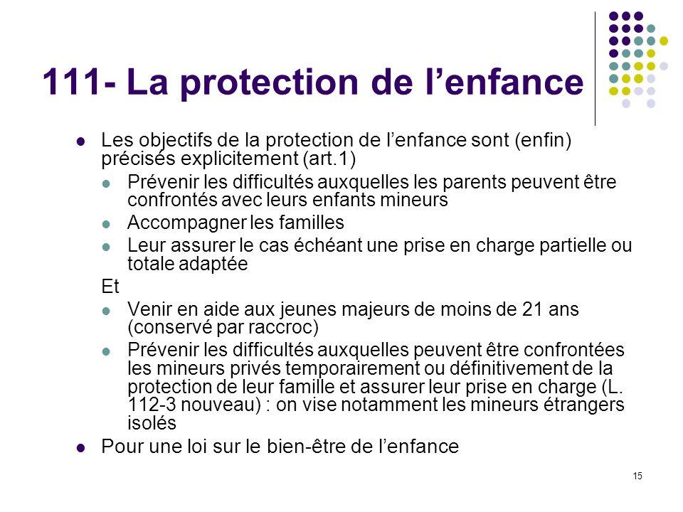 111- La protection de l'enfance