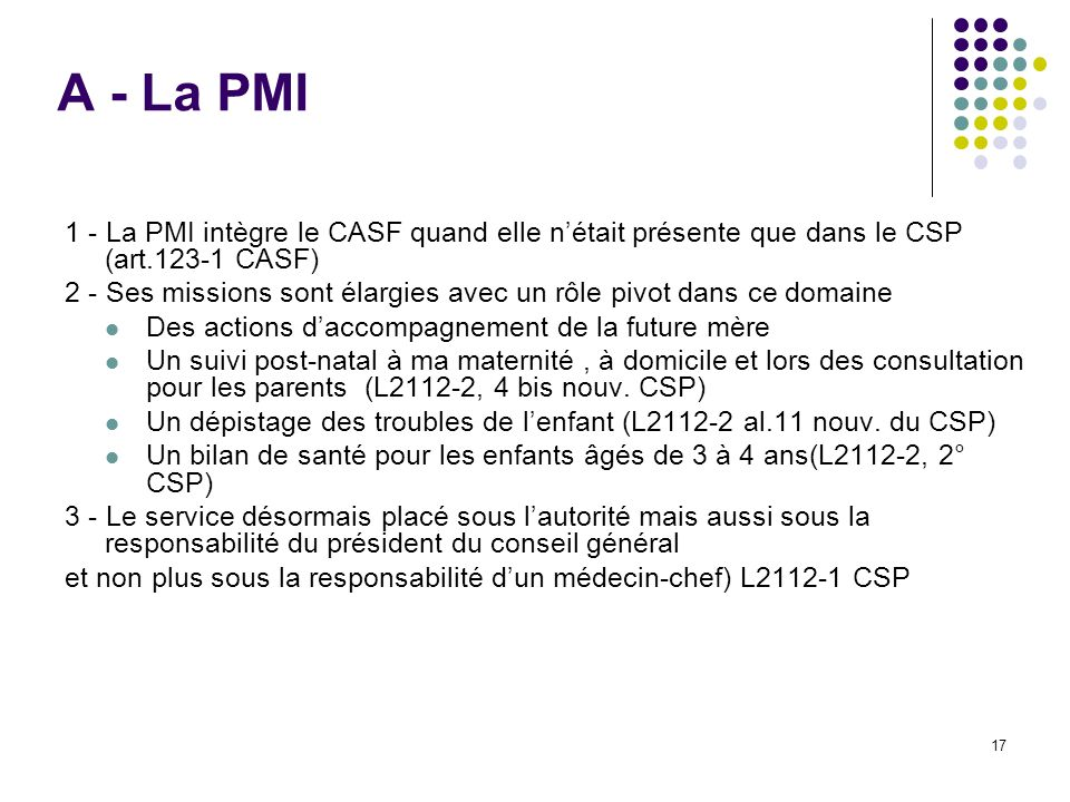 A - La PMI 1 - La PMI intègre le CASF quand elle n'était présente que dans le CSP (art.123-1 CASF)