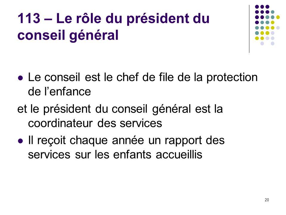 113 – Le rôle du président du conseil général