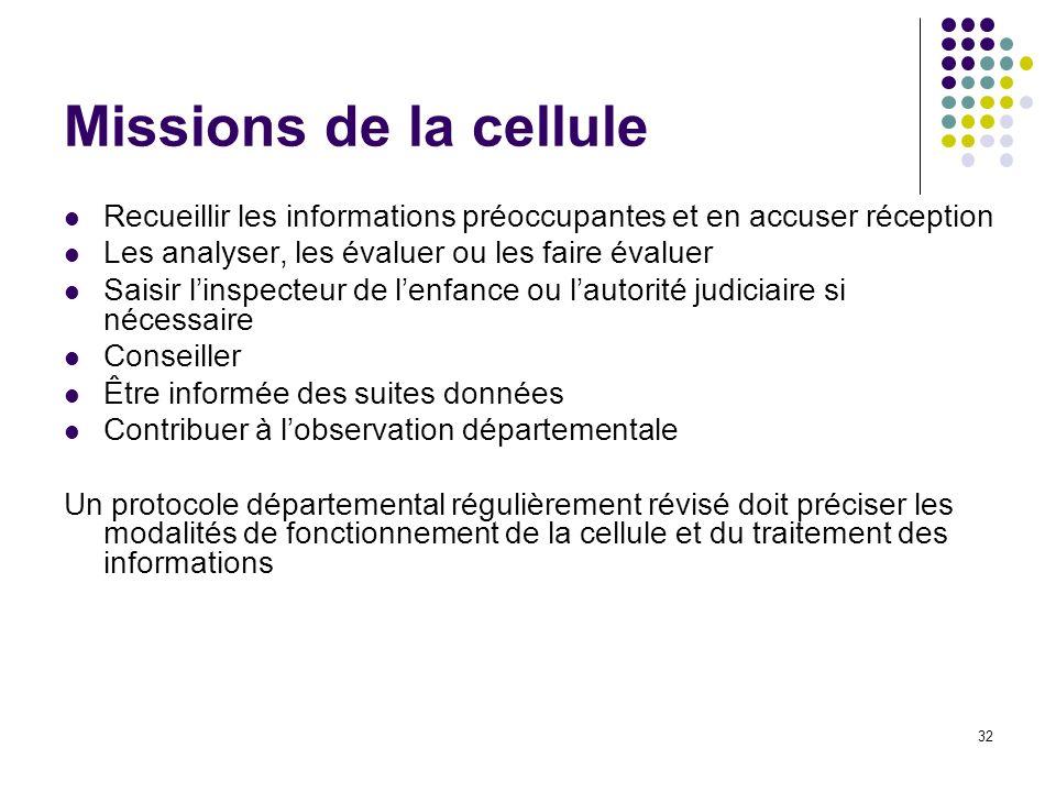 Missions de la cellule Recueillir les informations préoccupantes et en accuser réception. Les analyser, les évaluer ou les faire évaluer.