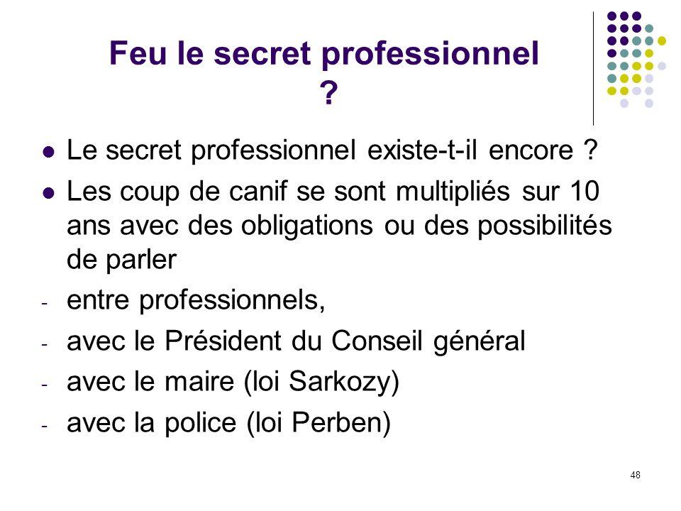 Feu le secret professionnel