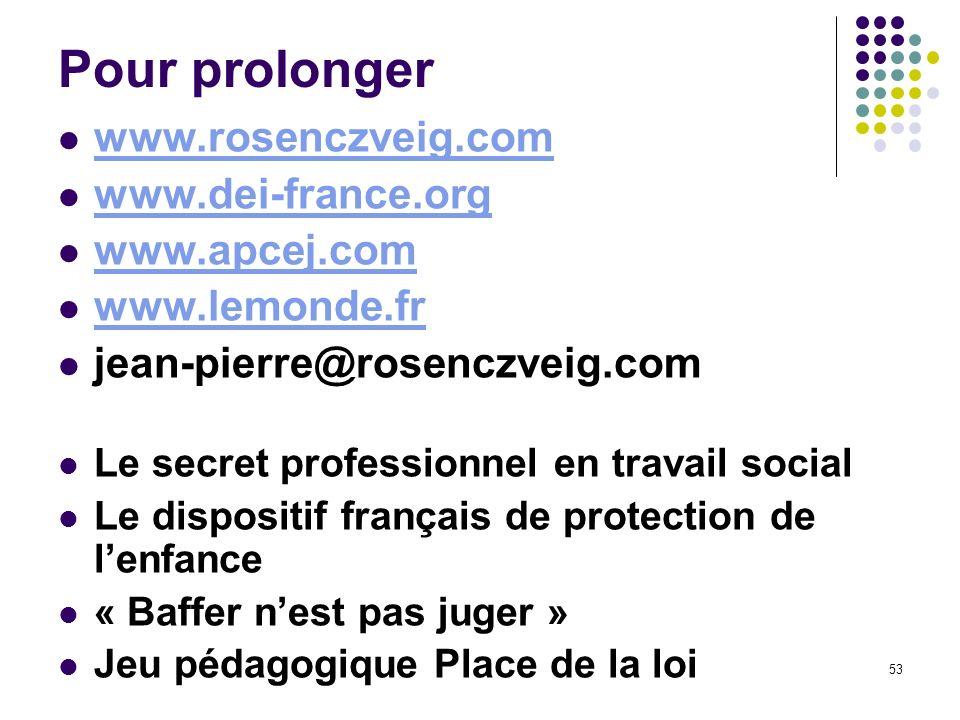 Pour prolonger www.rosenczveig.com www.dei-france.org www.apcej.com