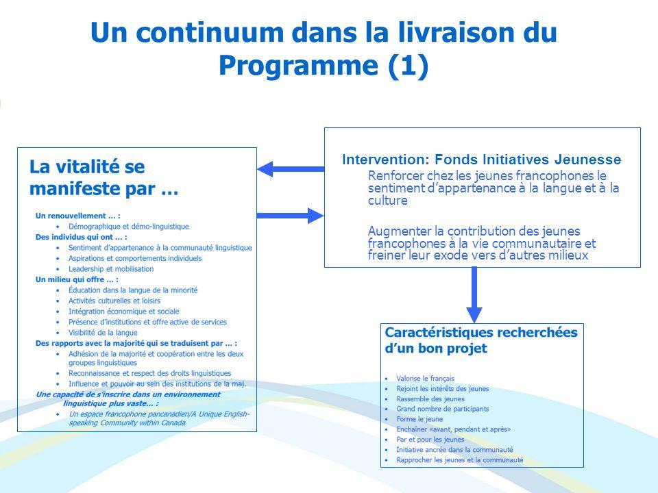 Un continuum dans la livraison du Programme (1)