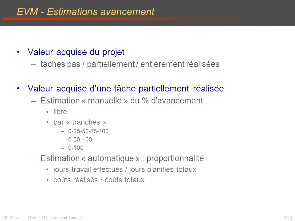 EVM - Estimations avancement