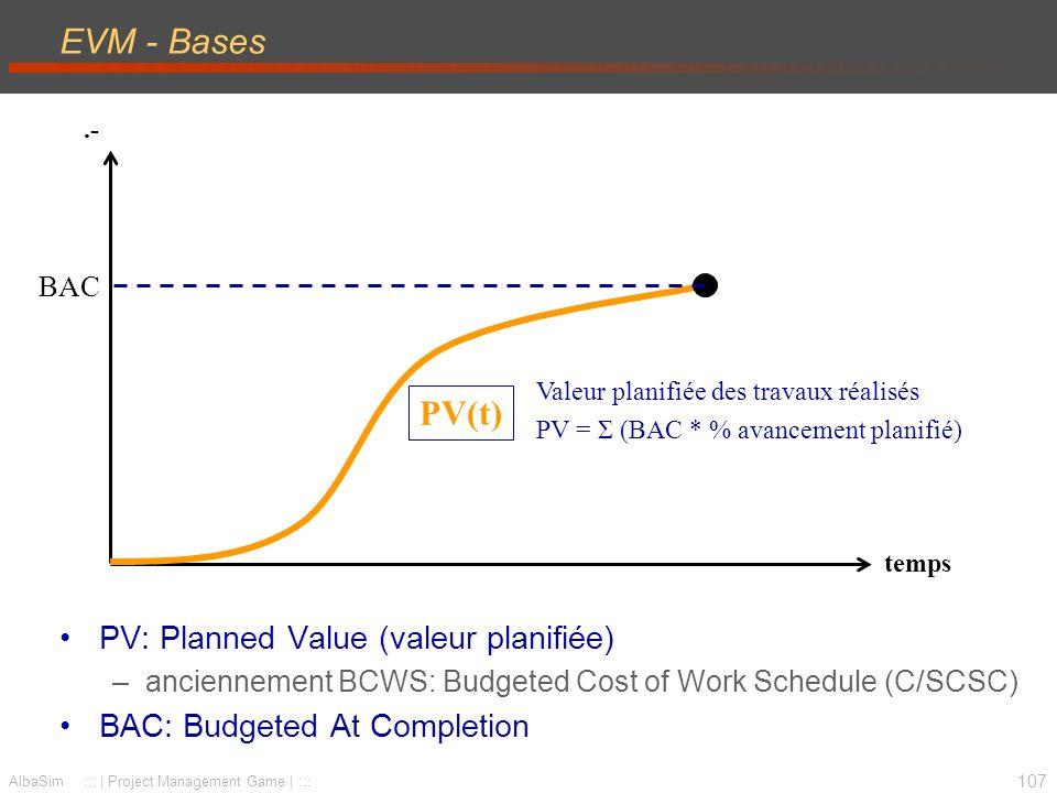 EVM - Bases PV(t) PV: Planned Value (valeur planifiée)