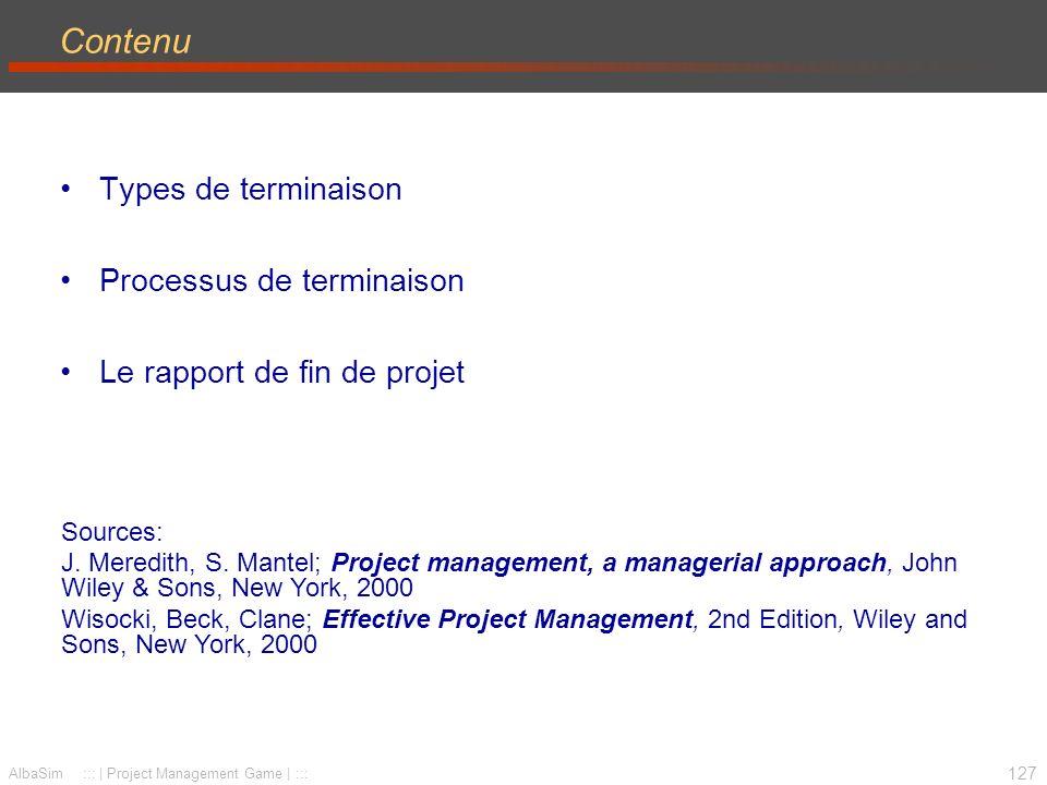 Contenu Types de terminaison Processus de terminaison