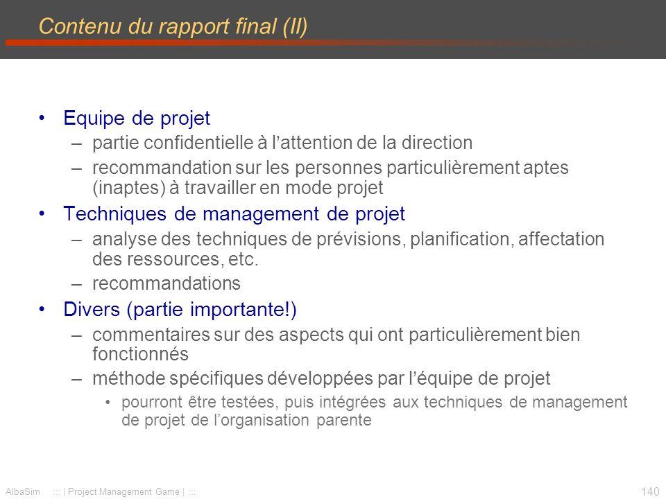 Contenu du rapport final (II)
