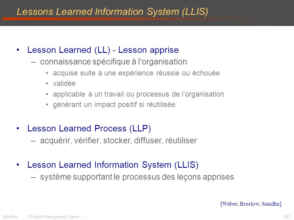 Lessons Learned Information System (LLIS)