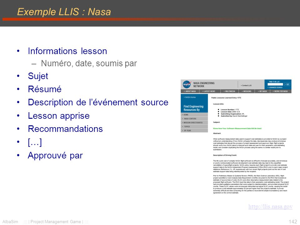 Exemple LLIS : Nasa Informations lesson Sujet Résumé