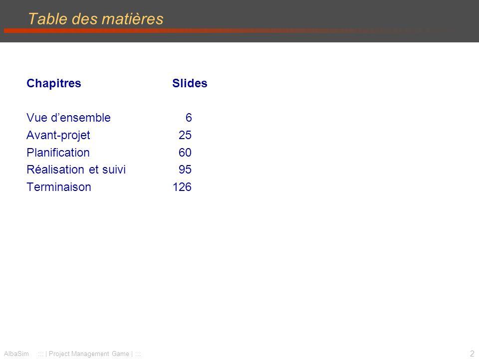 Table des matières Chapitres Slides Vue d'ensemble 6 Avant-projet 25
