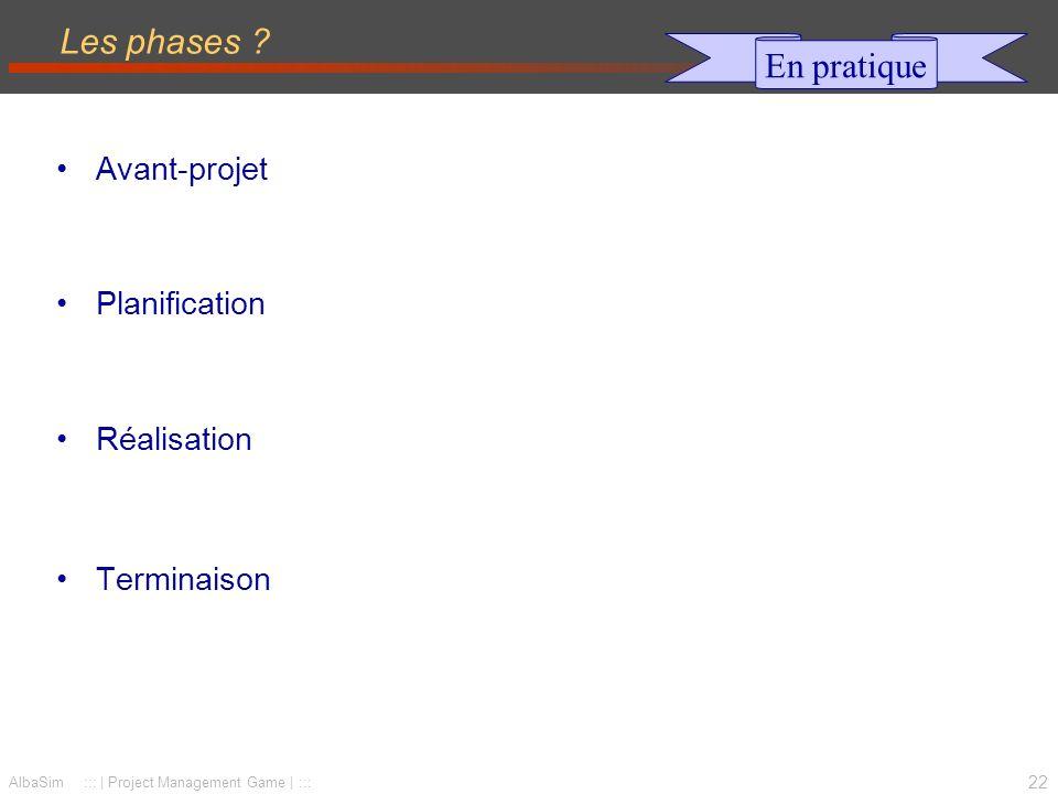 Les phases En pratique Avant-projet Planification Réalisation