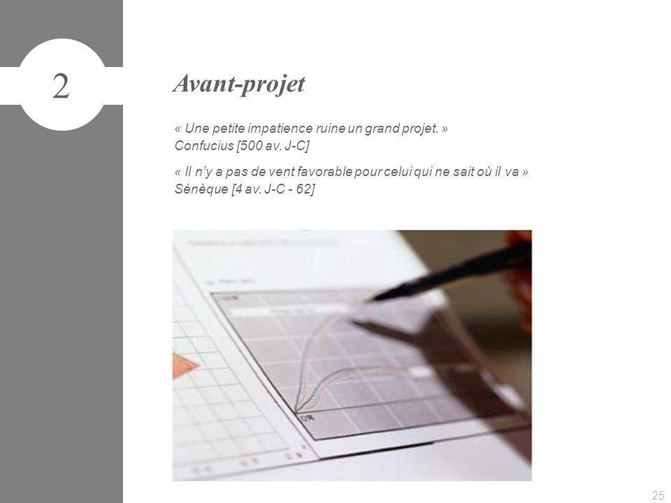 2 Avant-projet « Une petite impatience ruine un grand projet. »