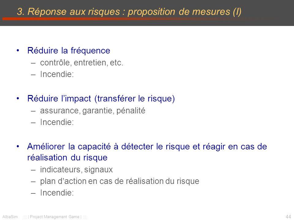 3. Réponse aux risques : proposition de mesures (I)