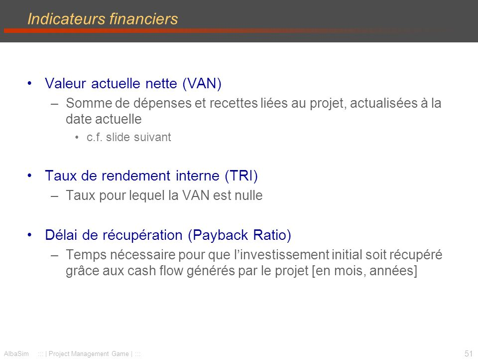 Indicateurs financiers