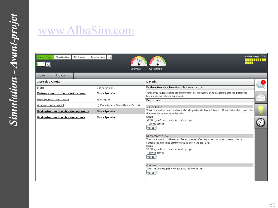www.AlbaSim.com Simulation - Avant-projet 59
