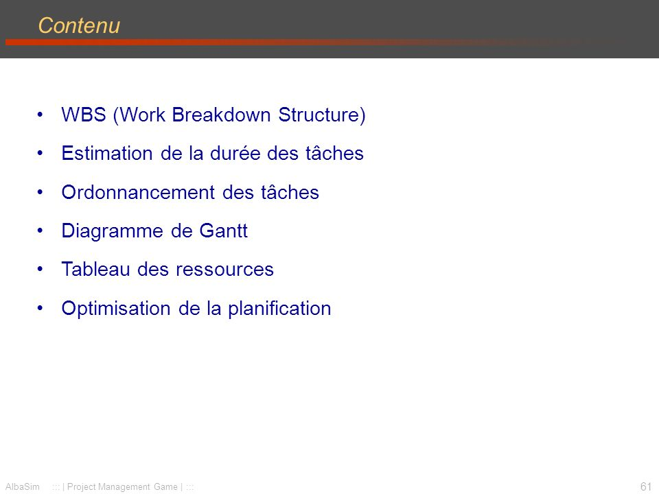 Contenu WBS (Work Breakdown Structure)