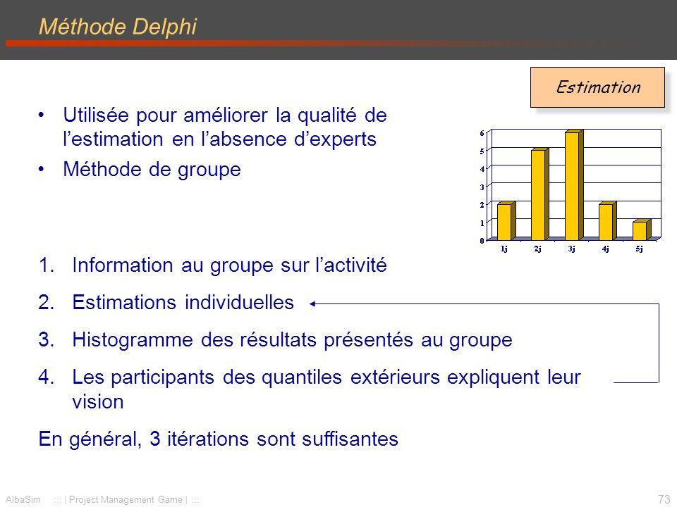 Méthode Delphi Estimation. Utilisée pour améliorer la qualité de l'estimation en l'absence d'experts.