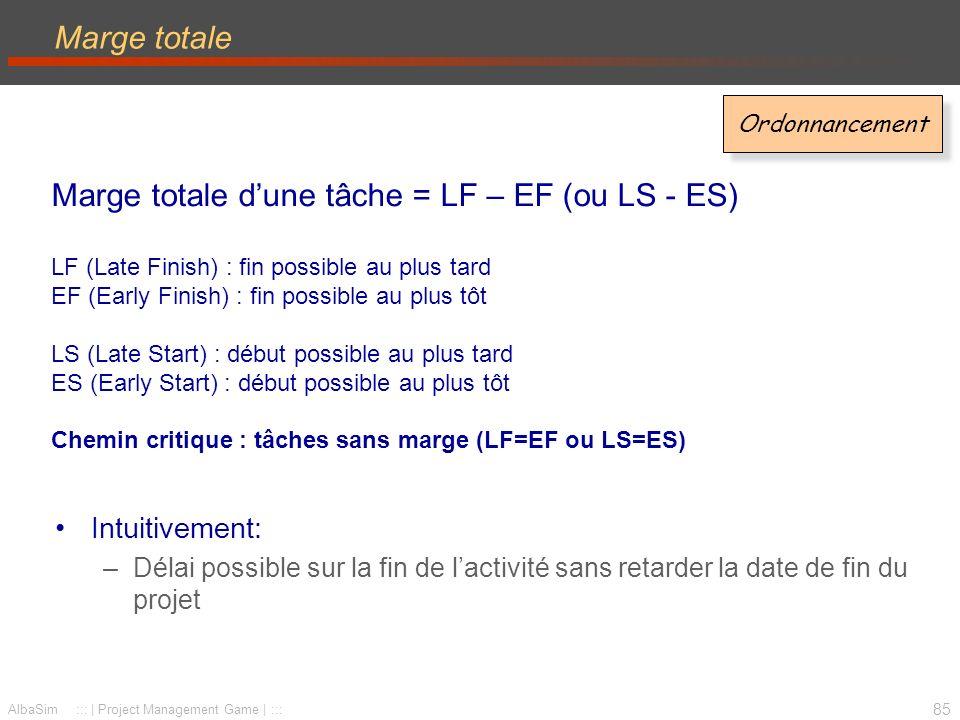 Marge totale d'une tâche = LF – EF (ou LS - ES)