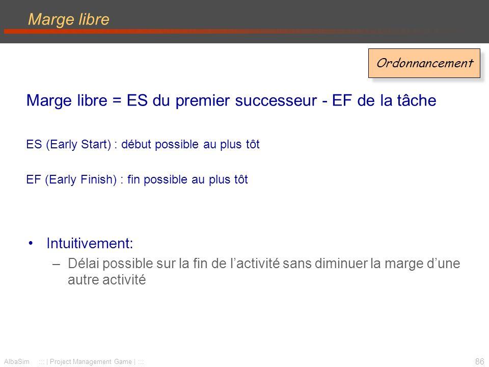 Marge libre = ES du premier successeur - EF de la tâche