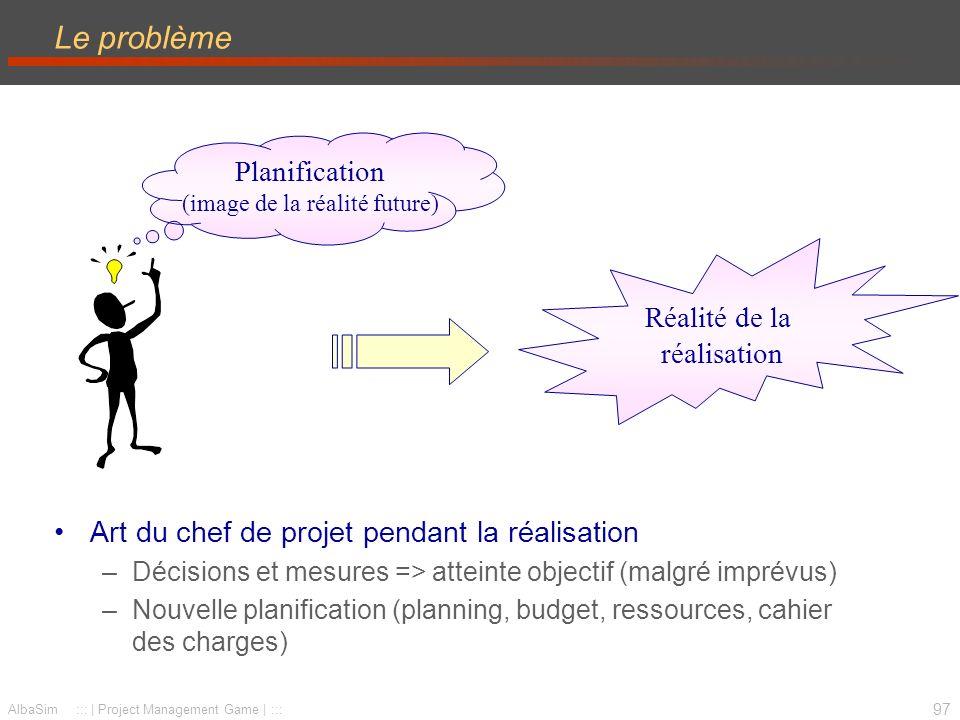 Le problème Planification (image de la réalité future)