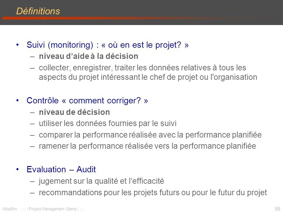 Définitions Suivi (monitoring) : « où en est le projet »