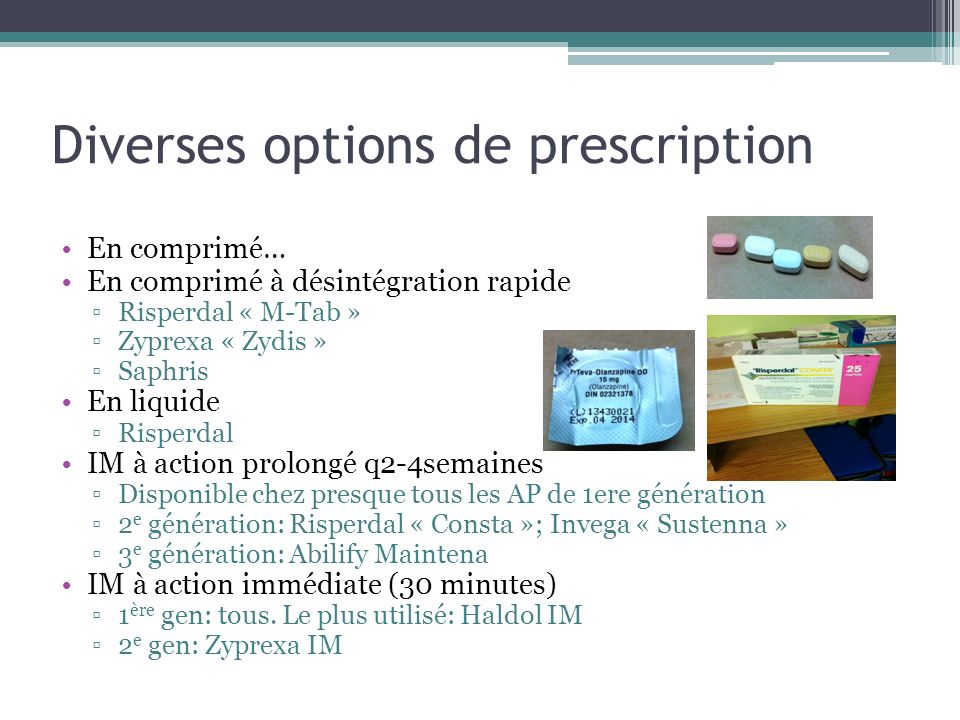 Diverses options de prescription