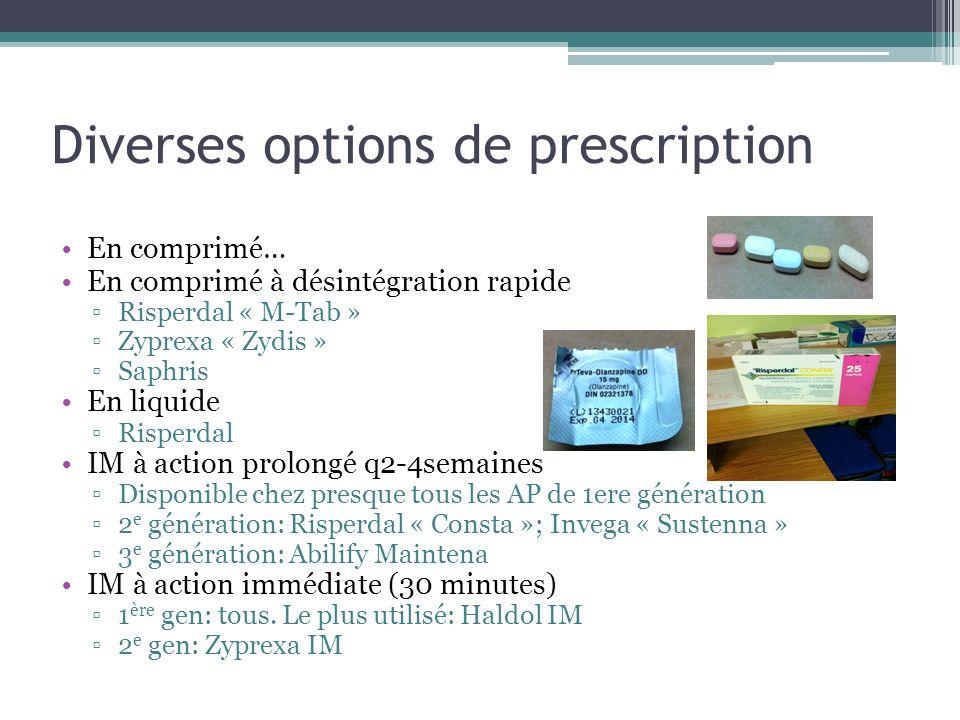 Diverses options de prescription