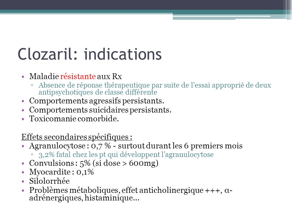 Clozaril: indications